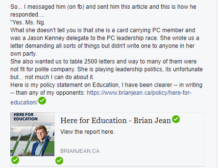 Brian Jean response to my letter